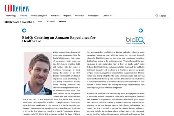 BioIQ Named One of the 20 Most Promising Biotechnology Solution Providers for 2015